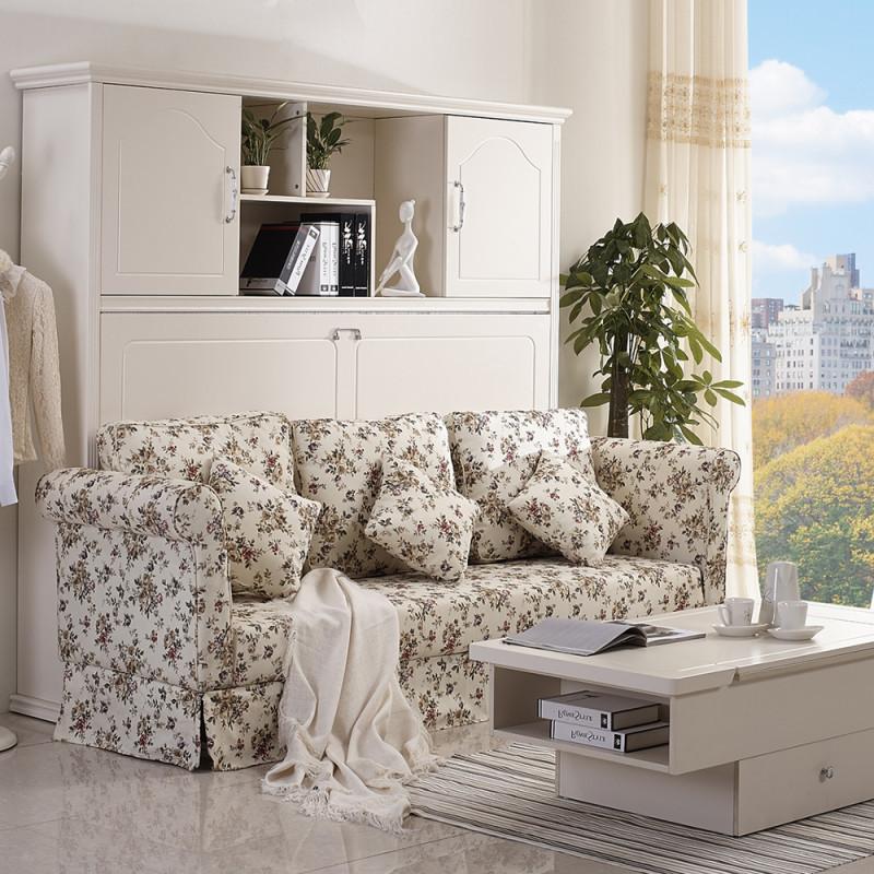 创意欧式田园沙发床客厅隐形床 壁床翻板床 多功能折叠变形家具