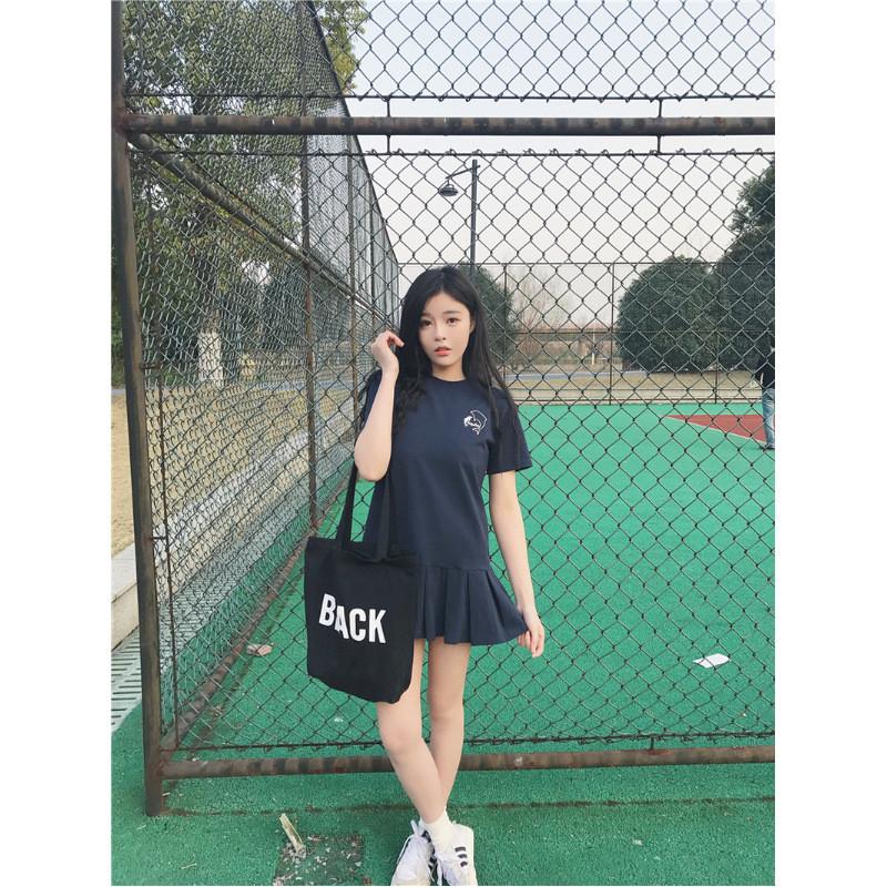 2017新款春夏女装韩版可爱卡通短袖连衣裙学生荷叶裙t恤裙短裙潮