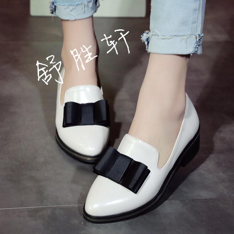 2017春秋新款浅口套脚尖头单鞋可爱蝴蝶结工作鞋低跟粗跟舒适女鞋