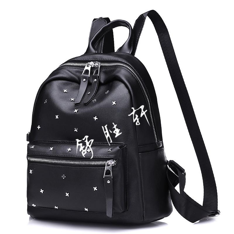 包包2018新款韩版潮背包铆钉双肩包女软皮旅行女包休闲软皮学院风