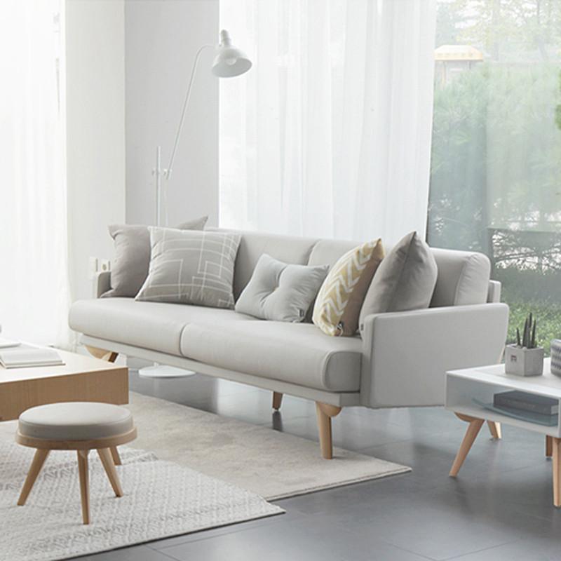 淮木 小户型三人沙发组合 客厅皮沙发北欧风格家具韩式皮沙发