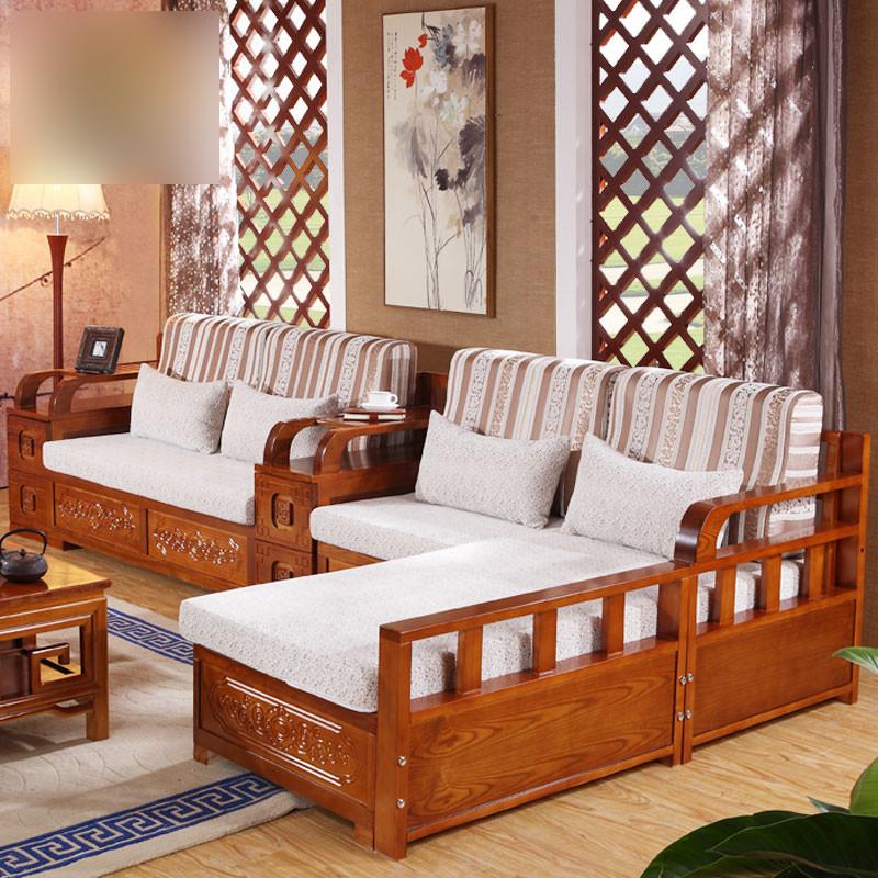 淮木(huaimu)新中式简约布艺水曲柳实木沙发组合现代贵妃客厅家具套装