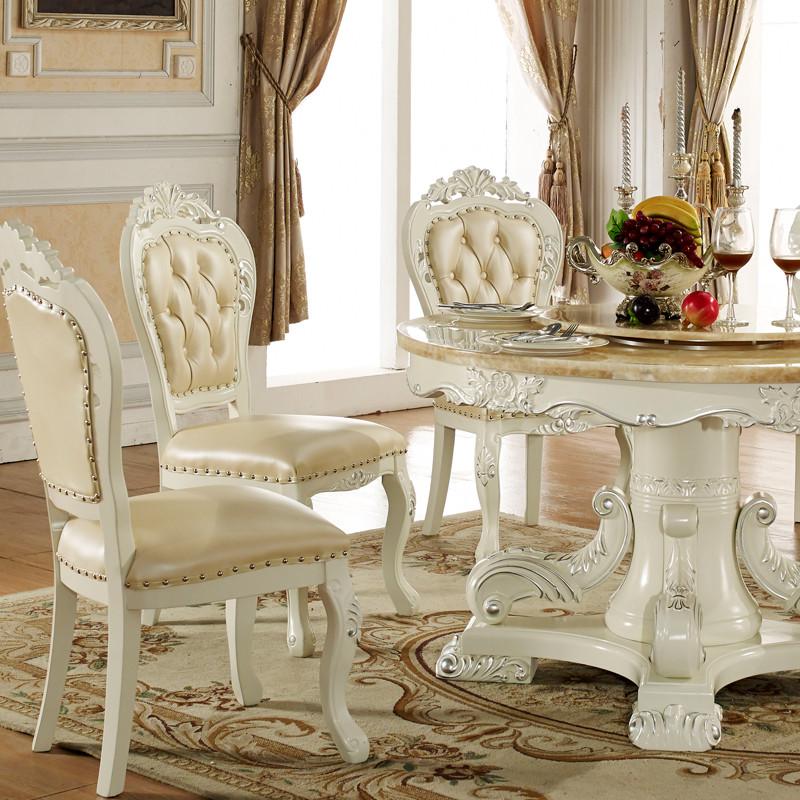 淮木 欧式餐桌 美式白色餐桌椅 1.3米1.5米餐台 大理石木面餐桌