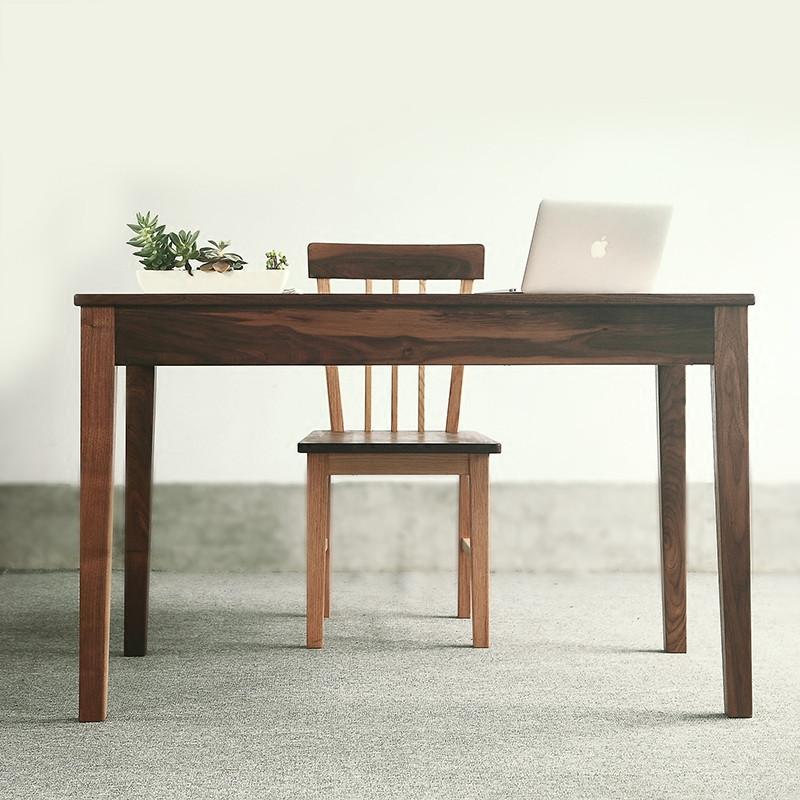 淮木 电脑桌 设计台 简约 带抽屉黑胡桃原木书桌 实木