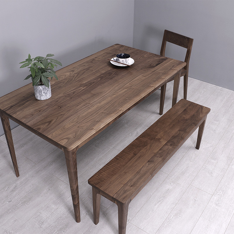 原木简约餐厅日式木板凳长条凳子北欧长凳实木橡木黑胡桃木餐凳