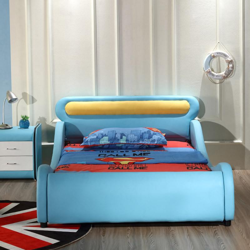 淮木(huaimu)儿童床皮床 储物 汽车床卡通床 欧式男孩