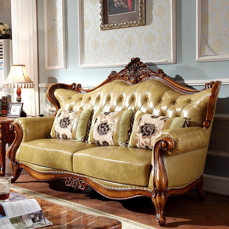 淮木 复古实木雕刻沙发客厅组合别墅家具 欧式古典真皮美式沙发 8598