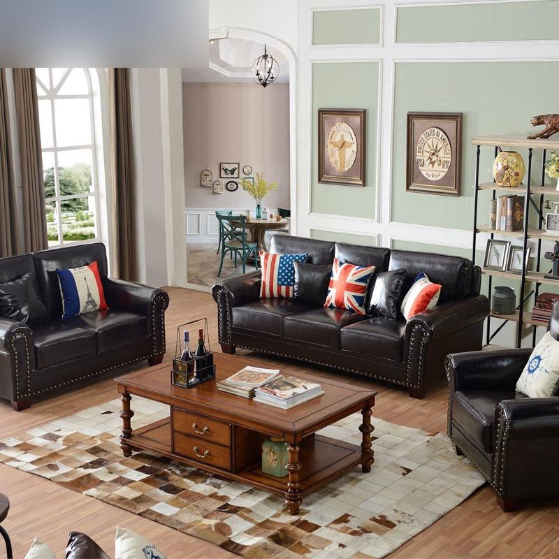 淮木(huaimu) 美式皮沙发 客厅组合小户型三人位皮沙发 欧式复古家具图片