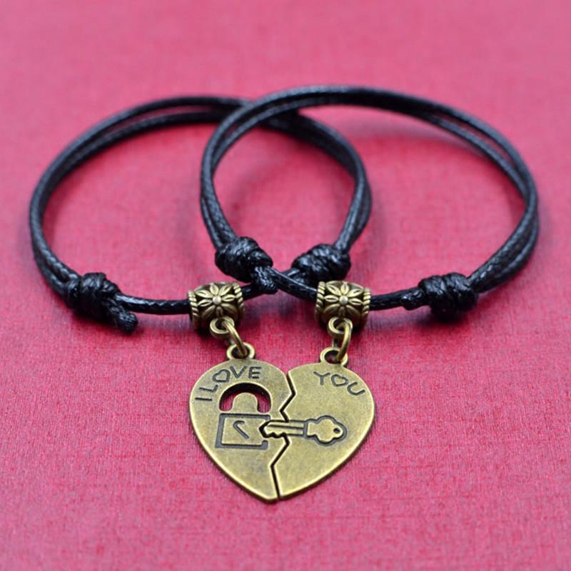 彩丽馆 日韩时尚男女手链 民族风复古手饰 钥匙和锁吊坠情侣手绳