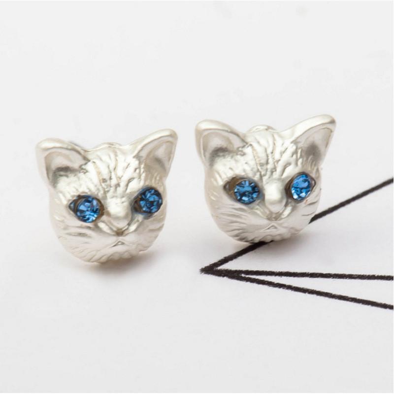 彩丽馆耳钉女款新款 韩版可爱动物系列可爱猫咪耳钉气质简约耳环耳饰