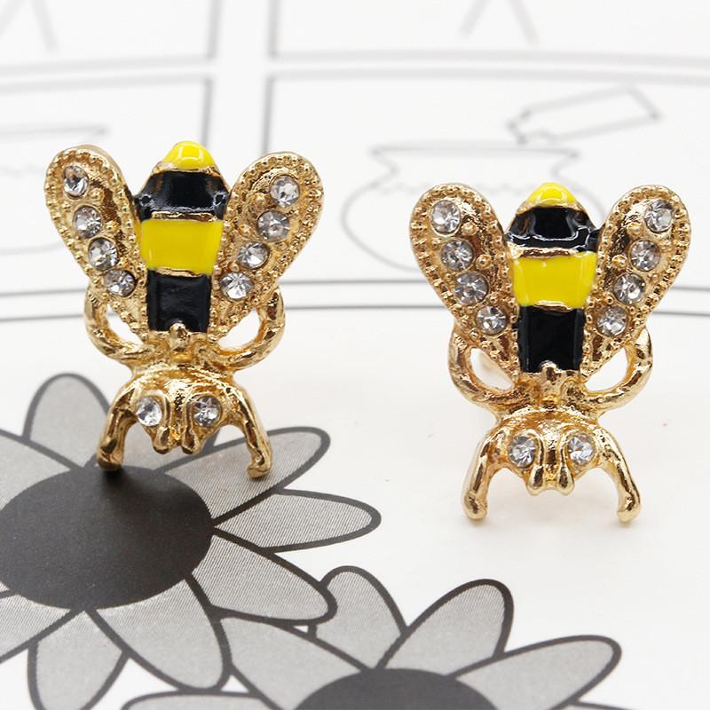彩丽馆耳钉女款新款韩版时尚潮流个性可爱动物耳环彩釉滴油小蜜蜂耳饰
