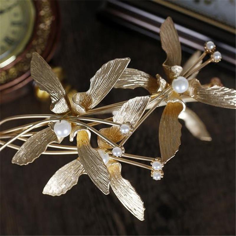 彩丽馆 新娘复古金色手工树叶发箍头饰婚纱礼服发饰配