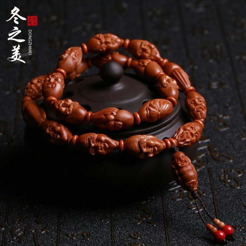 彩丽馆 橄榄核手串十八罗汉橄榄核雕刻橄榄胡佛珠手链名家李曼小籽
