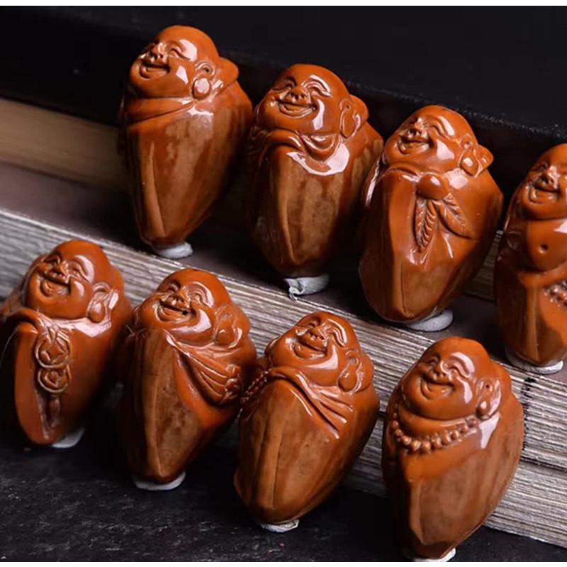 彩丽馆机刷橄榄核手串八宝弥勒苏南名家手工雕刻橄榄胡核雕弥勒佛手链