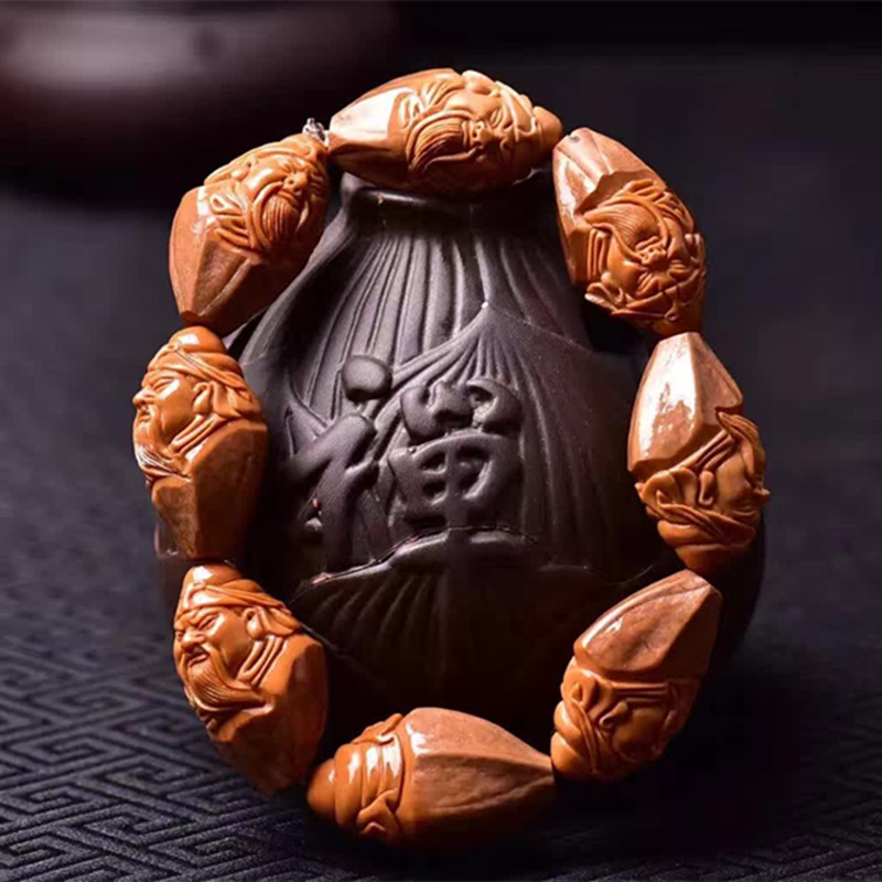 彩丽馆老橄榄核雕刻关公手串橄榄胡核雕文武关公关羽手链机刷包浆橄榄