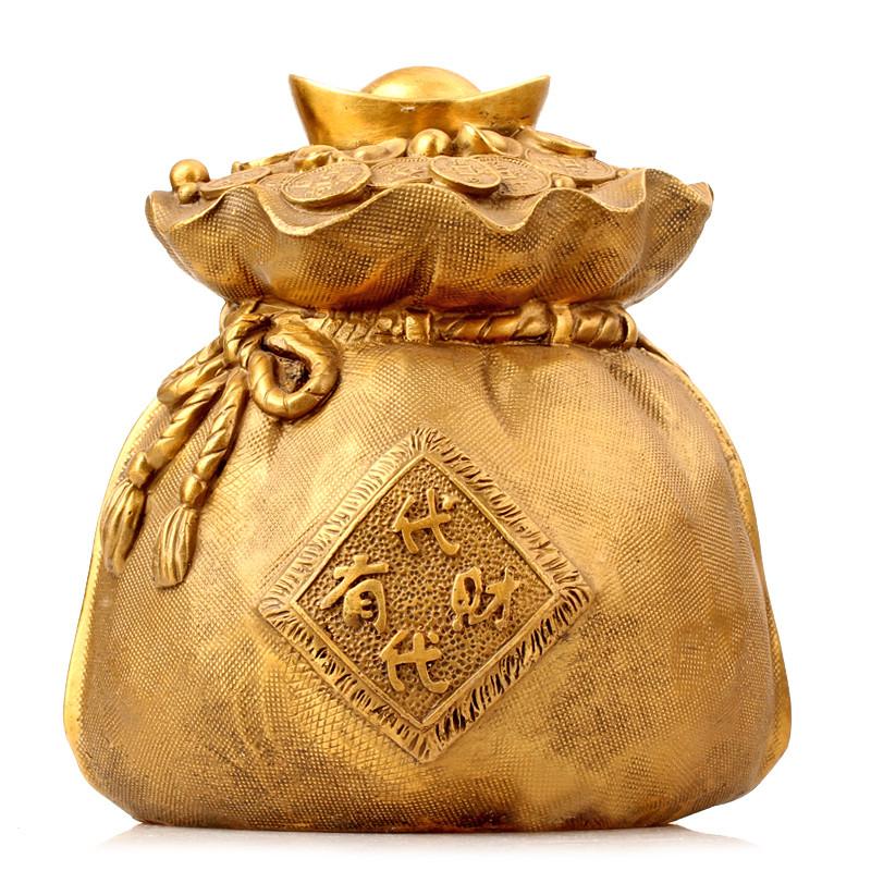 彩丽馆礼品之家 工艺品金元宝摆设 黄铜钱袋子摆件 家居装饰