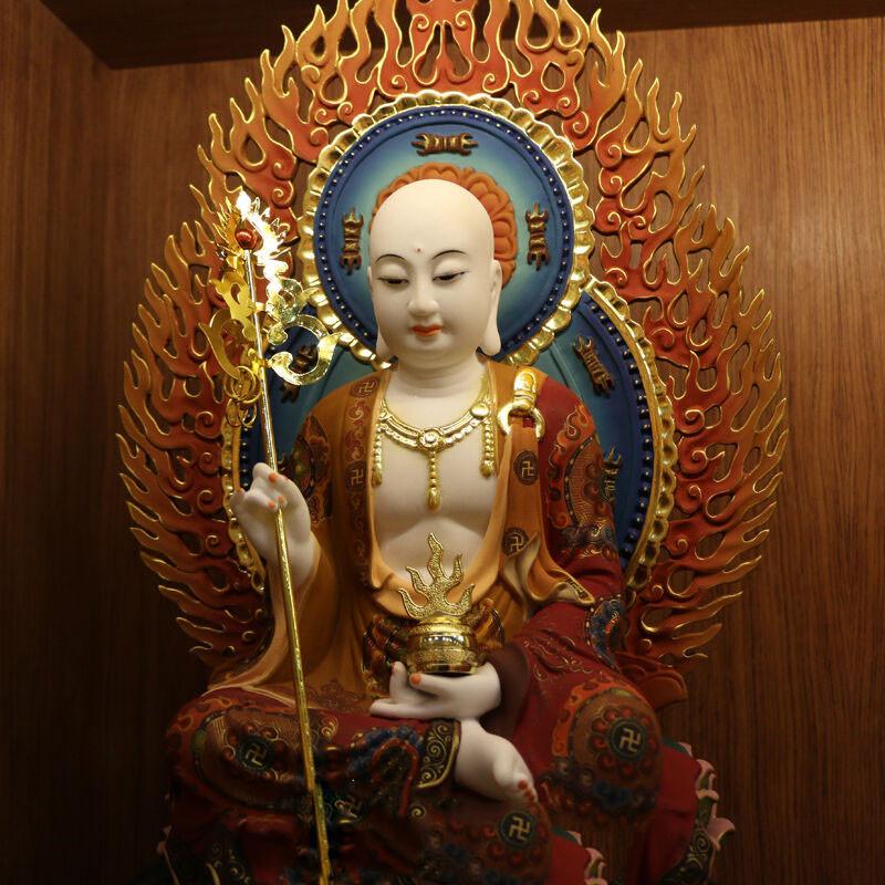 娑婆三圣 地藏王菩萨坐像 汉白玉地藏菩萨 精工彩绘佛像