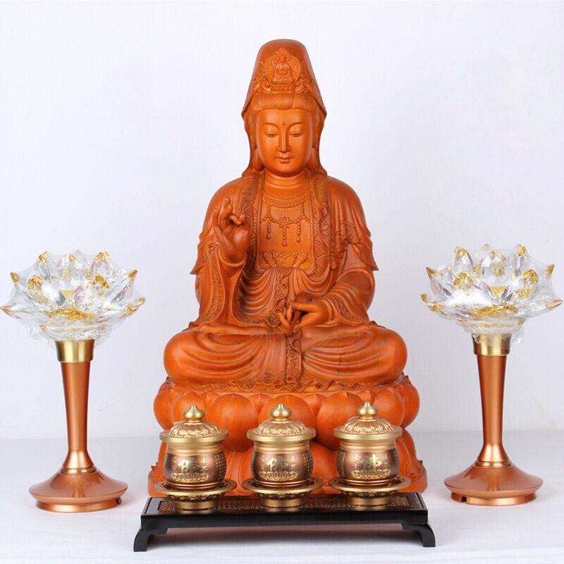 彩丽馆礼品之家 木雕佛像观音菩萨 16寸木雕红豆杉观音 精雕浮雕佛具