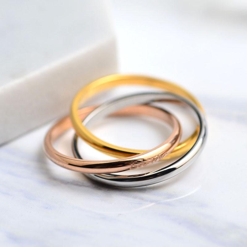 彩丽馆欧美时尚钛钢三环戒指女三色18k镀玫瑰金食指环彩金套戒子首饰