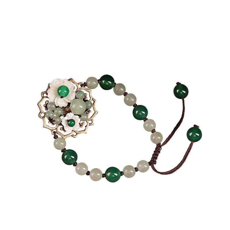 民族风中国风手链东陵玉手串手工编制复古风装饰品绿色清新手饰女送女