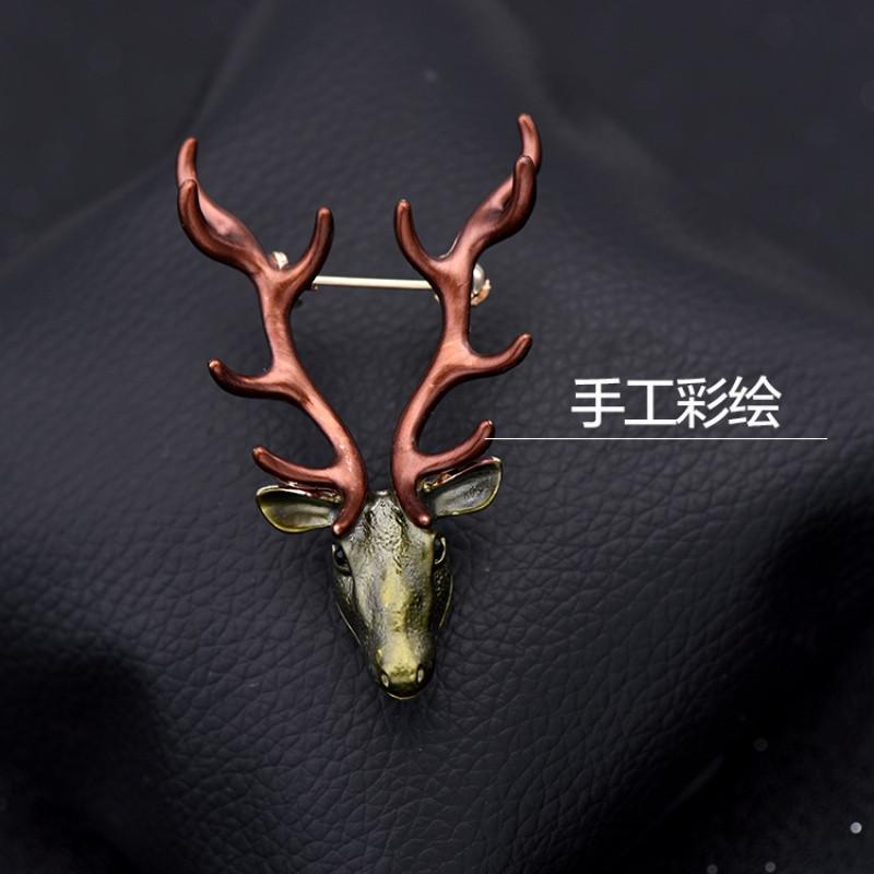彩丽馆欧多韩国复古胸针女鹿头胸花外套配饰品男衬衣领口别针扣小鹿
