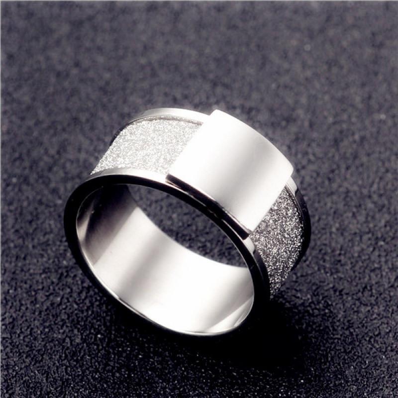 彩丽馆亮面正方形磨砂戒指韩版男士个性戒指单身指环食指霸气戒子送女