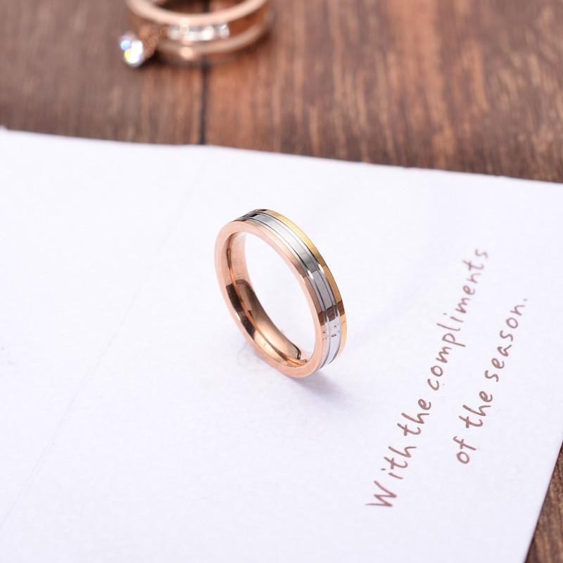 彩丽馆韩版彩金戒指女时尚百搭钛钢镀18k金食指环防过敏保色饰品明星