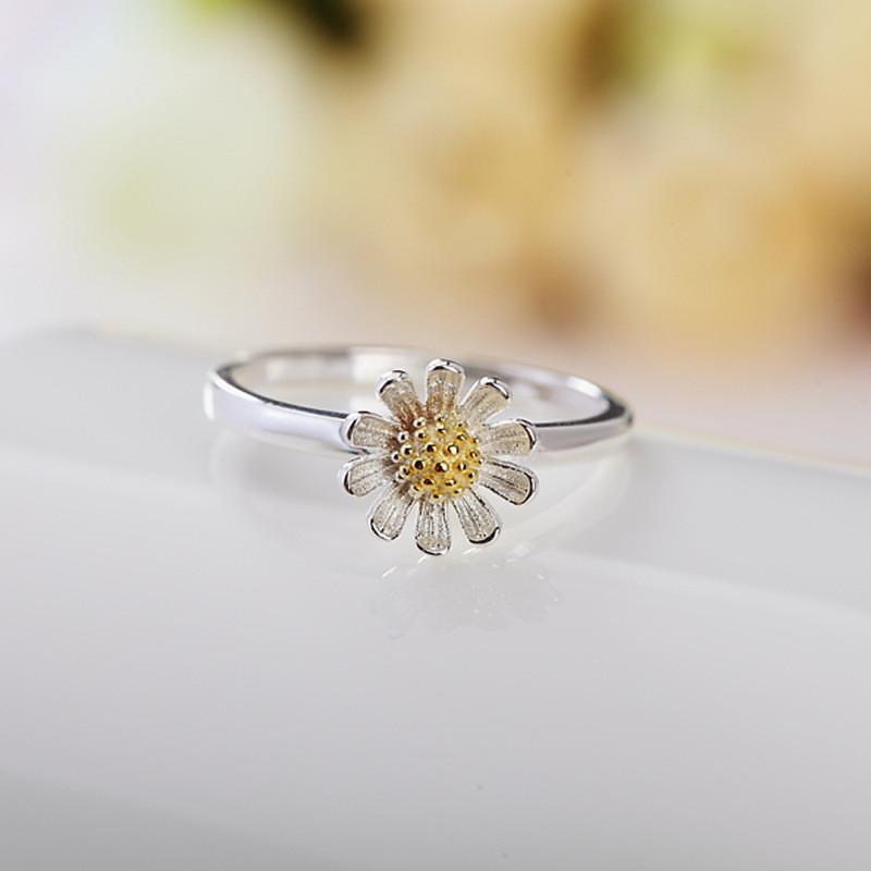彩丽馆原创设计925纯银戒指女开口活口可调节莲花樱花太阳花小雏菊