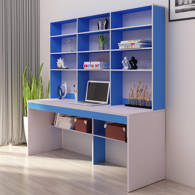 千住明电脑桌台式桌家用书柜组合书架简易书桌简约现代写字桌办公桌双