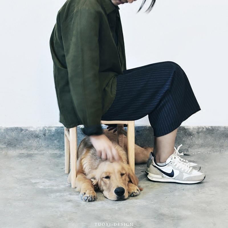 千住明萚兮家独立设计极简日式和风硬枫实木植鞣真皮矮凳休闲凳子换鞋