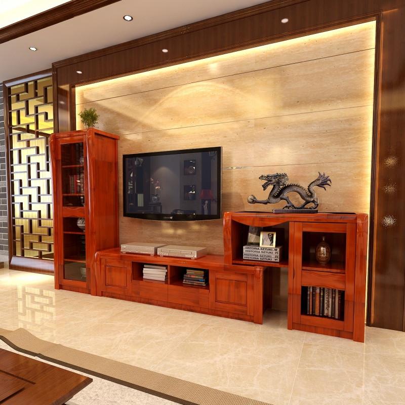 千住明现代客厅中式实木电视柜 背景墙高低柜组合伸缩图片