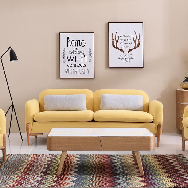 千住明布艺沙发客厅小户型三人位沙发北欧日式布艺沙发组合现代简约风