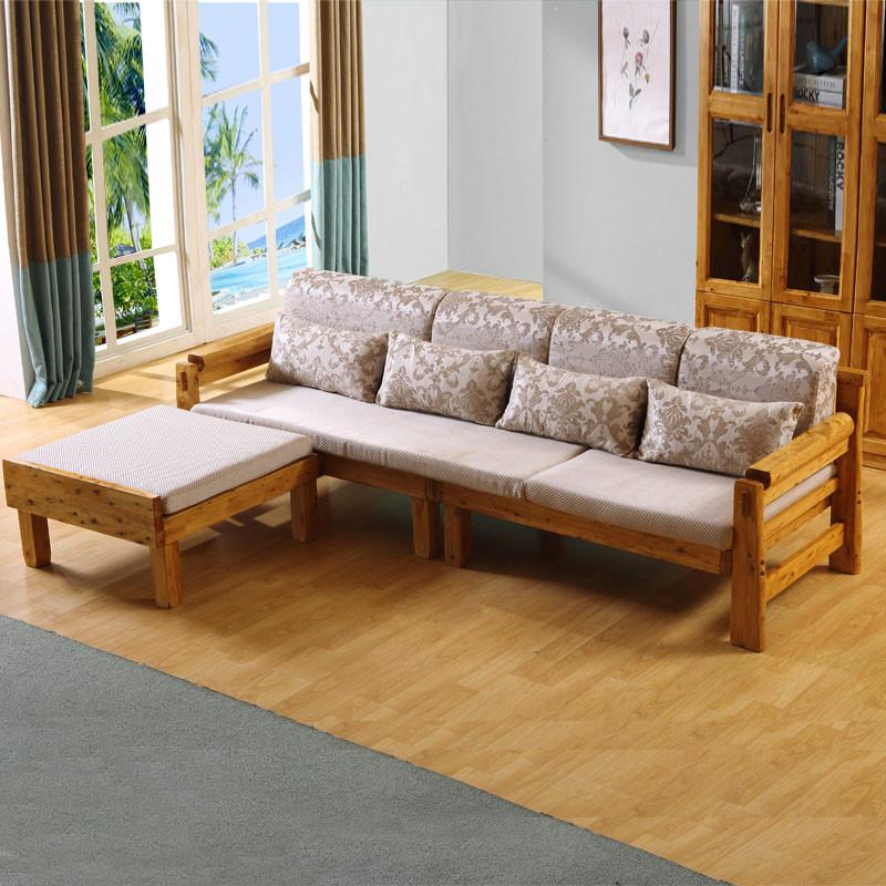 千住明实木沙发柏木原木沙发中式现代仿古木质组合贵妃沙发客厅实木