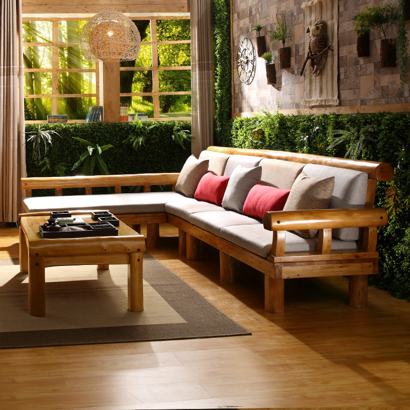 千住明实木贵妃沙发柏木原木沙发中式原生态凉椅沙发3