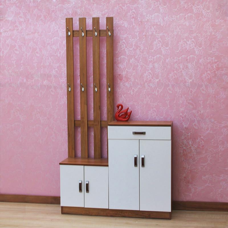 千住明仿实木色柚木色红木色套白挂衣帽架鞋柜门厅简易组装现代简约