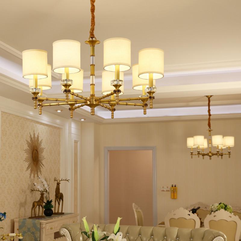 世冠 欧式吊灯 纯铜客厅灯温馨卧室水晶创意吊灯简约餐厅灯具灯饰