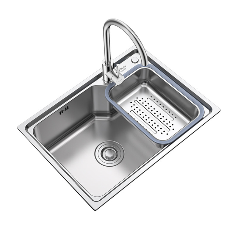 不锈钢水槽单槽尺�_箭牌(arrow) 304不锈钢厨房水槽单槽套餐 一体成型加厚拉丝 洗菜 盆