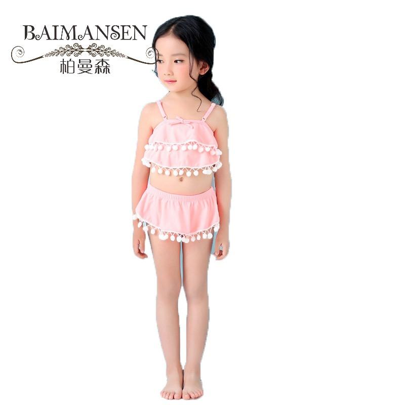 运动户外儿童泳衣 女宝宝分体比基尼 可爱毛球宝宝比基尼02