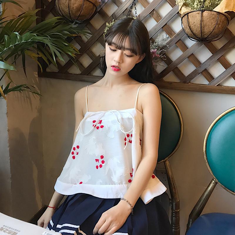 春夏女装韩版小清新短款挂脖吊带外穿抹胸一字领小背心学生打底衫