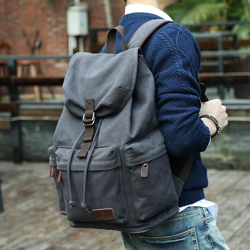 男士双肩包休闲韩版旅行电脑包帆布背包高中大学生书包男时尚潮流