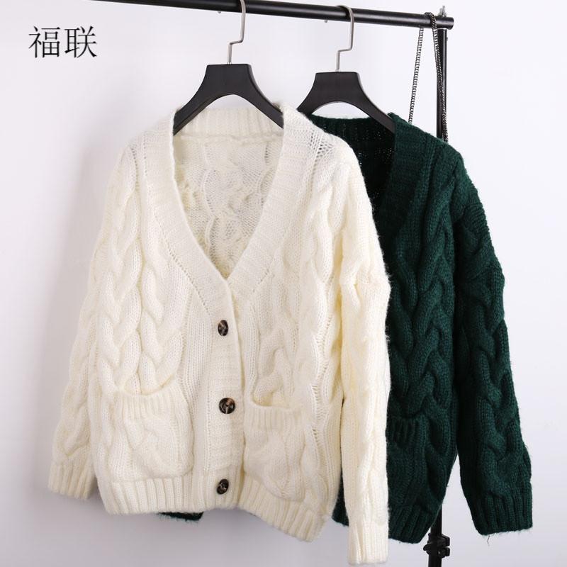 宽松针织开衫女粗线毛衣外套
