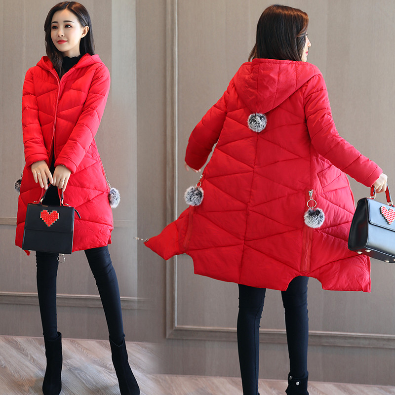 2017软妹冬季女装加厚外套连帽棉衣女中长款韩版羽绒棉服棉袄