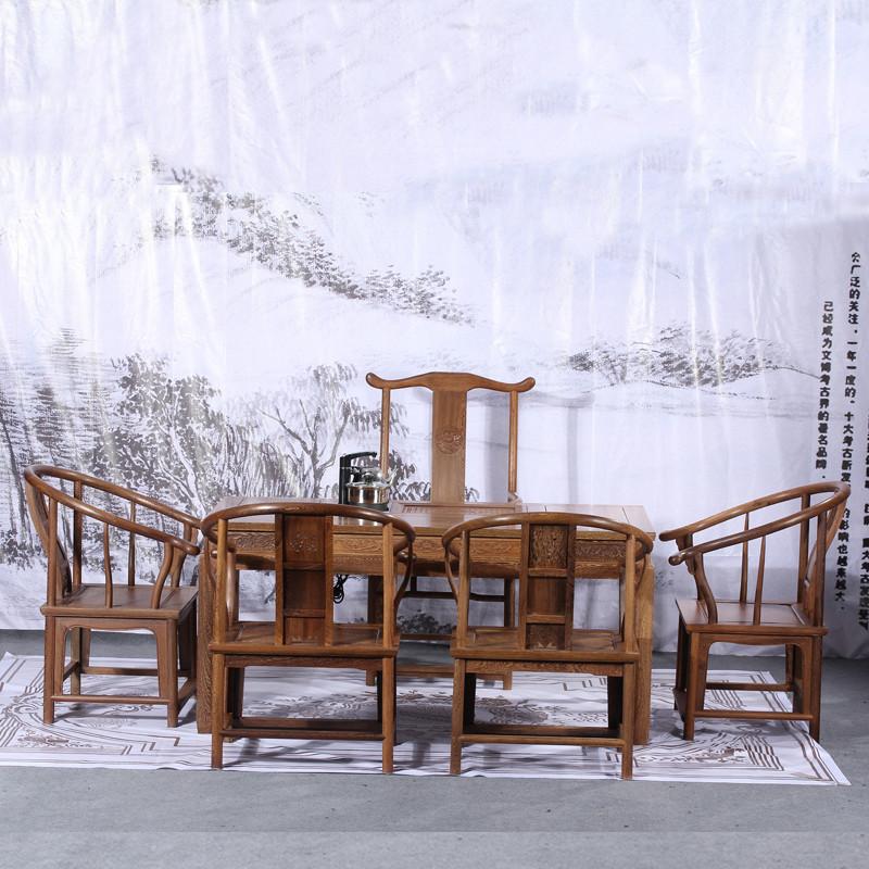 博古恒韵红木家具 鸡翅木阳台茶几 中式仿古实木功夫茶桌 茶桌椅组合