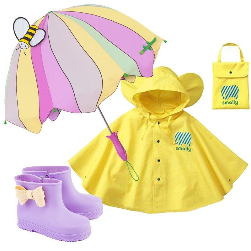 韩国时尚可爱卡通男女儿童宝宝犀牛雨鞋雨披雨伞雨鞋套装