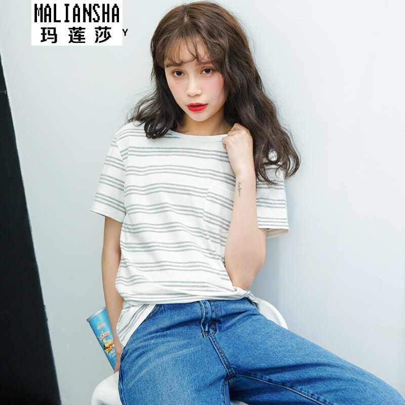 韩版女装夏装新款宽松显瘦清新圆领百搭学生上衣短袖t恤
