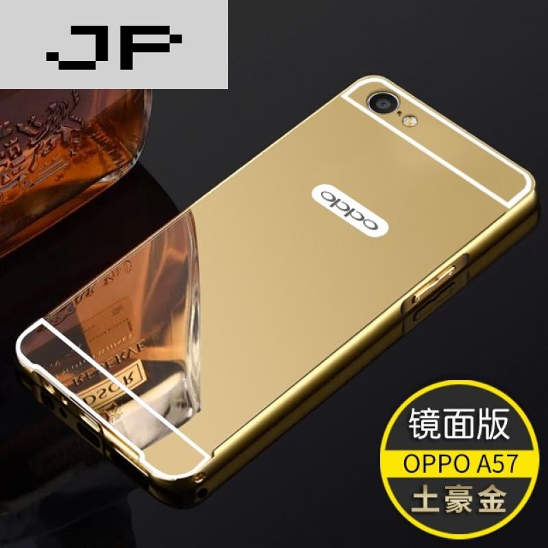 手机套品牌_jp潮流品牌新款oppoa57手机壳 a57m手机套保护壳金属边框镜面后盖防摔