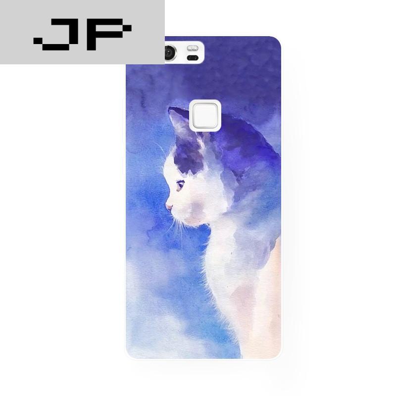jp潮流品牌浅紫色手绘可爱小猫咪华为 p8 9荣耀6 7plus mate7 8原创