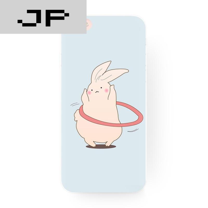 jp潮流品牌浅蓝底可爱呆萌肥兔子 苹果6s5se手机壳iphone7 6 plus硅胶