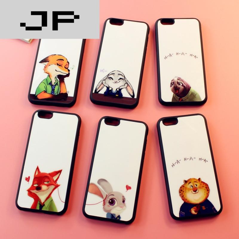 jp潮流品牌疯狂动物城兔朱迪苹果iphone6splus手机壳卡通情侣挂绳5se