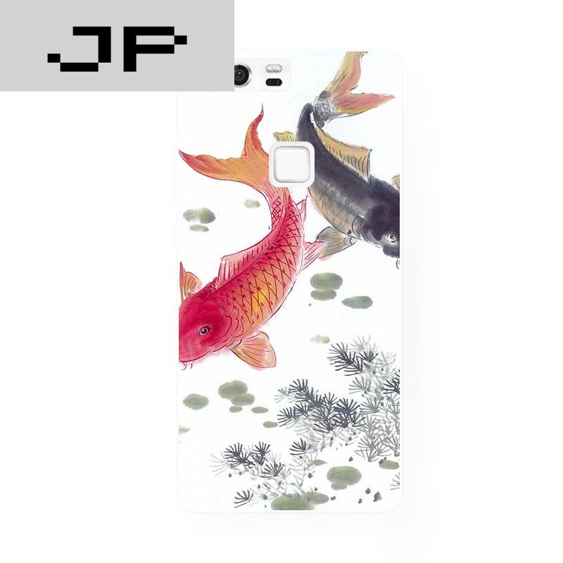 jp潮流品牌中国风手绘锦鲤鱼华为 p8 9荣耀6 7plus mate7 8原创手机壳